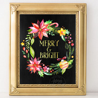 Merry and Bright, Christmas Prints, Christmas cards, Christmas decorations, Christmas printables, Holiday cards Christmas wreath, chalkboard