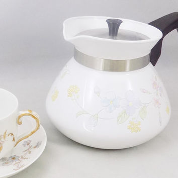 Corning 6 Cup Teapot, Pastel Bouquet, Corelle Pot, 1980's Kitchen