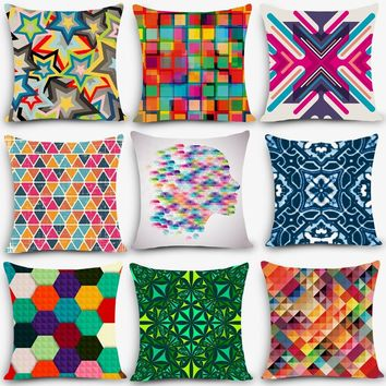 Cheap car seat linen throw pillow Nordic Vintage  outdoor chair cushions home decorative pillow Symphony geometric pillowcase J6