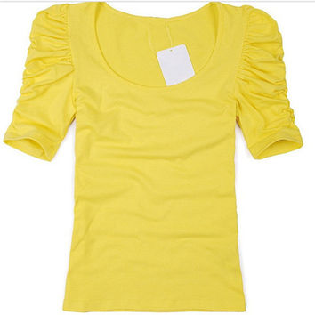 GCAROL Women Summer Candy Color Tshirt Puff Sleeve Female Tshirts Basic Cotton Blends Tops Slim fit Stretch  T-shirt