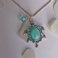 Sea Glass Necklace with Turquoise Sea Turtle