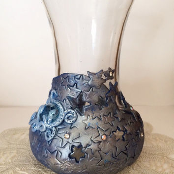 Starry night vase. Hand made polymer clay. USA made primo polymer clay, design and made by American artist.