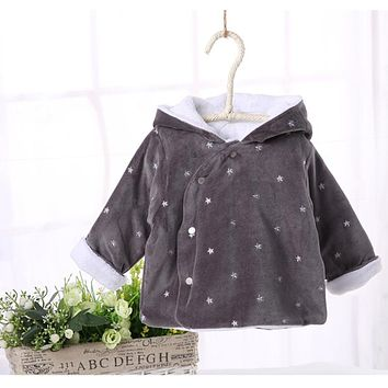 Baby clothes children winter warm thick jacket long sleeves baby lining wool hooded baby outwear filed with cotton winter coat