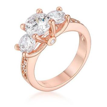 Dazzling Three Stone Engagement Ring with CZ