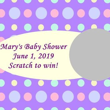 10 Purple Baby Shower Scratch Off Game Cards