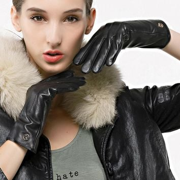 Nappaglo Women's Classic Leather Gloves Italian Lambskin Winter Warm Pure Cashmere Lining Driving Gloves Touchscreen Texting