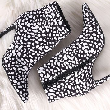 Qupid Spotted Suede Pointy Toe Kitten Heeled Booties