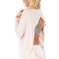 Beige Open Back Long Sleeve Top