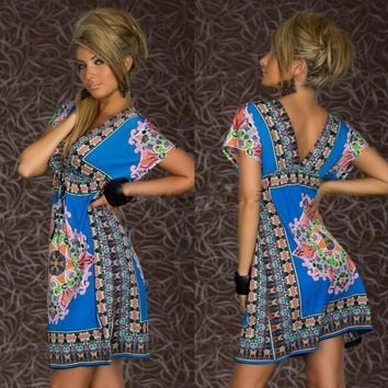 New Arrival deep V Dashiki Dress Sexy Summer Fashion Retro Sun Dresses Vintage Paisley Print Hippie Bohemian Beach Dress
