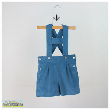 Boys Shorts - Teal corduroy short overalls - Shortalls with H bar suspenders