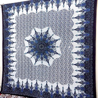 BIG indian cotton blue star mandala hippie tapestry wall hanging hippy bohemian boho bedding throw bedspread cover ethnic floral home decor