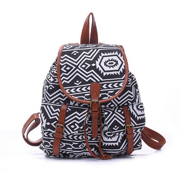 Women's Large Canvas Chevron Aztec Daypack Backpack Travel Bag