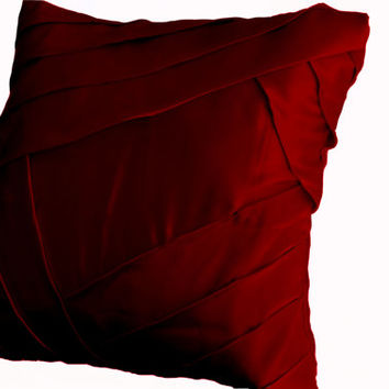 Throw pillows in deep red satin with luxurious pleats- Sateen cushion cover 16x16 - Pillow covers -Red pillows -Red bedding- Christmas decor