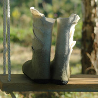 Felted Boots for women White / Moss Green, snow boots, winter shoes