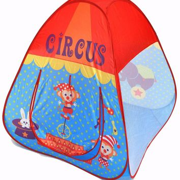 Circus Theme Twist Play Tent House w/ Safety Meshing