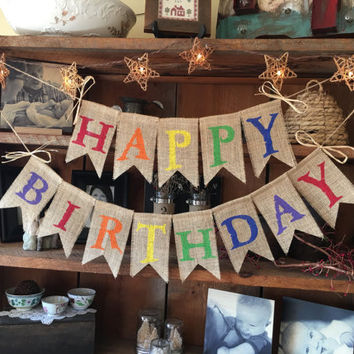 Colorful Birthday Banner, Burlap Happy Birthday Banner, Birthday Garland, Birthday Garland, Birthday Banner, Burlap Bunting, Happy Burlap