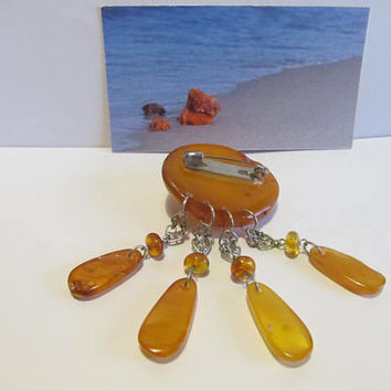 100% Natural #Antique #Vintage #Baltic #Amber #Brooch, 14.5 grams #yellow  polished  opaque  for adult