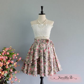 Spring's Whisper Floral Skirt Spring Summer Sweet Gray Pink Floral Skirt Party Cocktail Skirt Wedding Bridesmaid Skirt Gray Floral Skirts