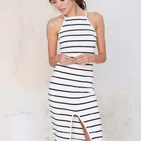 Halter Striped Bodycon Slit Mid Dress
