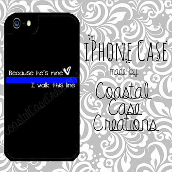 Thin Blue Line Heart Quote Apple iPhone 4 4G 4S 5G Hard Plastic Cell Phone Case Cover Original Trendy Stylish Design