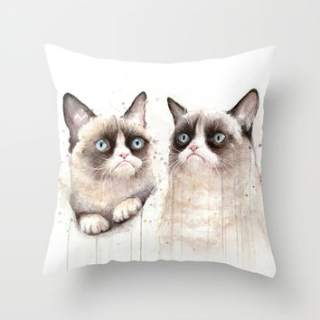 Grumpy Watercolor Cats Throw Pillow by Olechka