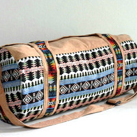 Handmade Native Duffle Bag, Southwestern Style Weekender bag, Hippie Hipster Travel bag, Tribal Aztec Sport Gym bag, Small size, Holdall