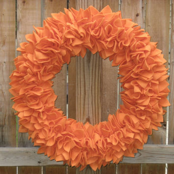 Orange Wreath --- Fleece Wreath --- Door Wreath --- Indoor Wreath --- Pumpkin Wreath --- Fall Wreath --- Rag Wreath --- Autumn Wreath