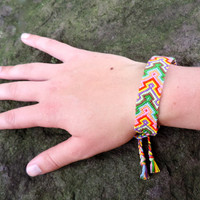Friendship Bracelet - Colorful ]Thick Arrowhead Pattern - Handmade