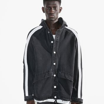 Paint Brushed Stripe Destroyed Denim Hooded Jacket