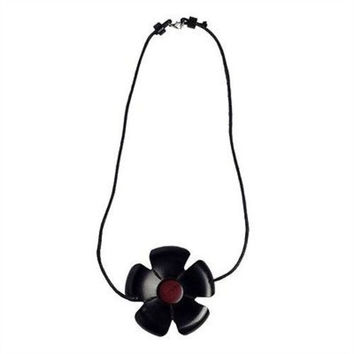 African Blackwood Flower and Pink Ivory Wood Necklace