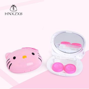 HNXZXB  Cartoon Cat Contact Lens Case For Women With Mirror Cute Plastic Eyeglass Case Contact Lenses Box With Sucker And Twe