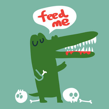 Hungry Hungry Alligator Art Print by Budi Satria Kwan