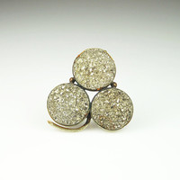 Antique Victorian Brooch Pyrite Druzy Clover Leaf Early 1900s Jewelry