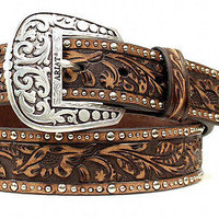 Ariat Women's Western Embellished Inlay Leather Belt