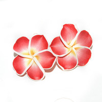 Plumeria Leverback Earrings, Pink Hawaii Flower Earrings