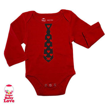 Red Tie with Flocked Hearts Baby Onesuit