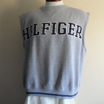 vintage 90's Tommy Hilfiger designer graphic sleeveless sweatshirt men unisex crew neck heather grey fleece pullover jumper embroidered logo