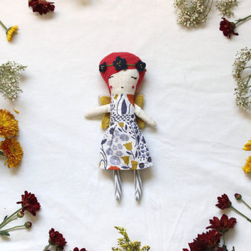 Small Flower Fairy Doll - Colorful OOAK Cloth Art Doll Little Faerie Girl Odd Shape - by Liberty Lavender Dolls