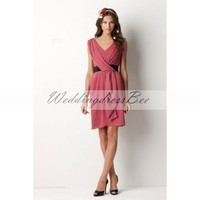 V-neck A-line with sash chiffon bridesmaid dress