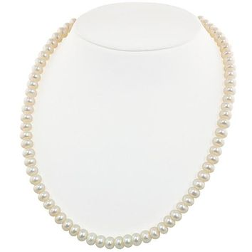 "Honora 7-8 MM White Rondel Freshwater Cultured Pearl 16"" Necklace"