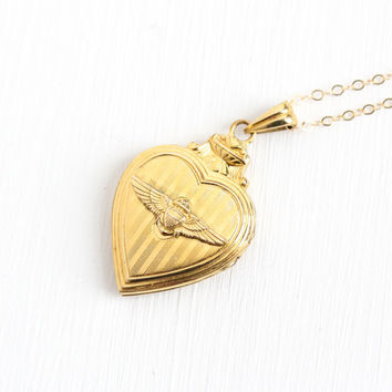 Vintage 12k Yellow Gold Filled Naval Aviator Sweetheart Locket - 1940s WWII Pilot Wings Anchor Heart Necklace Jewelry Signed Hayward