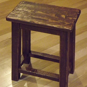 Rustic/ Reclaimed wood/ Farmhouse/ stool/ Sitting stool/ Primitive/ small/ side table/bench