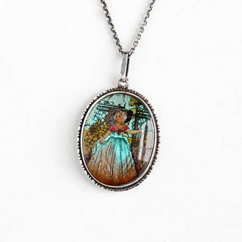 Vintage Sterling Silver Blue Morpho Butterfly Wing Painted Lady English Pendant Necklace - Art Deco 1920s PI 202213 Shipton Co Jewelry
