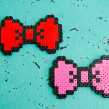 Perler Bead Bow - Photo Booth Prop - Hair Clip - Magnet - Or Keychain