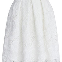 Pleated White Skirt with Scallop Hem White