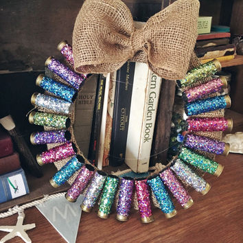 Spring Country 12 Gauge Shotgun Shell Glittered Wreath 12 inch with burlap bow