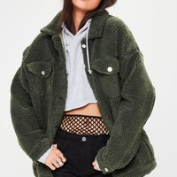 Missguided - Khaki Oversized Borg Trucker Jacket