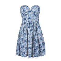 PAISLEY PRINT BUSTIER DRESS