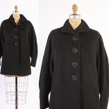 Vintage 50s COAT / 1950s Black Wool Cropped Swingy Coat with Oversized Decorative Buttons S - M