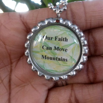 Bottle cap necklace, scripture jewelry, handmade christian jewelry, Matthew 17:20, faith can move mountains